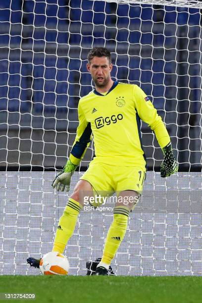 Goalkeeper Maarten Stekelenburg of Ajax during the UEFA Europa League Quarter Final: Leg Two match between AS Roma and Ajax at Stadio Olimpico on...