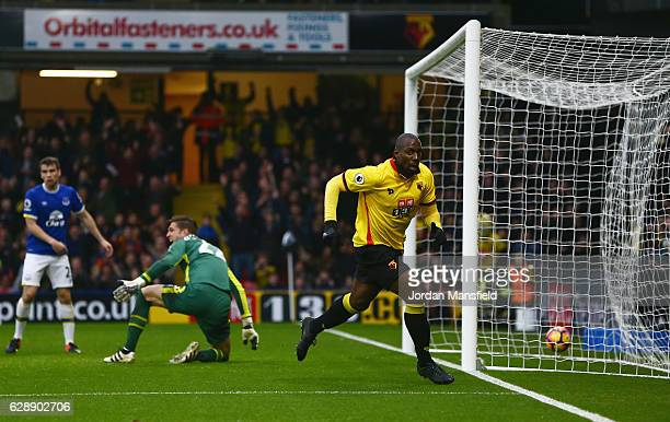 Goalkeeper Maarten Stekelenburg of Everton reacts as Stefano Okaka of Watford celebrates as he scores their first and equalising goal during the...