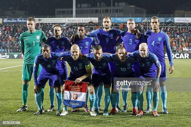 goalkeeper Maarten Stekelenburg of Holland Daley Blind of Holland Joshua Brenet of Holland Bas Dost of Holland Jeffrey Bruma of Holland Virgil van...