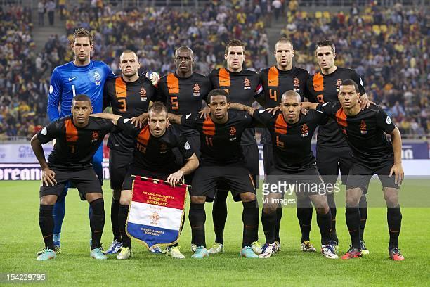 Goalkeeper Maarten Stekelenburg of Holland John Heitinga of Holland Bruno Martins Indi of Holland Kevin Strootman of Holland Ron Vlaar of Holland...