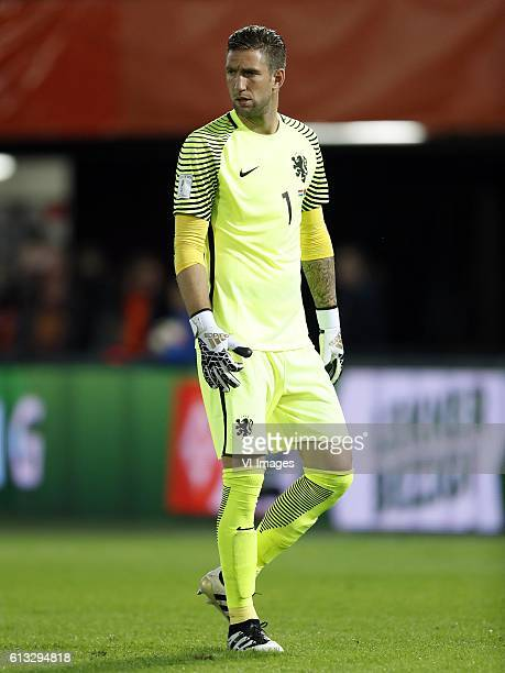 goalkeeper Maarten Stekelenburg of Hollandduring the FIFA World Cup 2018 qualifying match between Netherlands and Belarus at the Kuip on October 07...