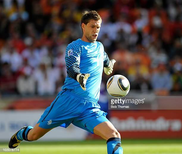 Goalkeeper Maarten Stekelenburg of the Netherlands during the 2010 FIFA World Cup Group E match between Netherlands and Denmark at Soccer City...