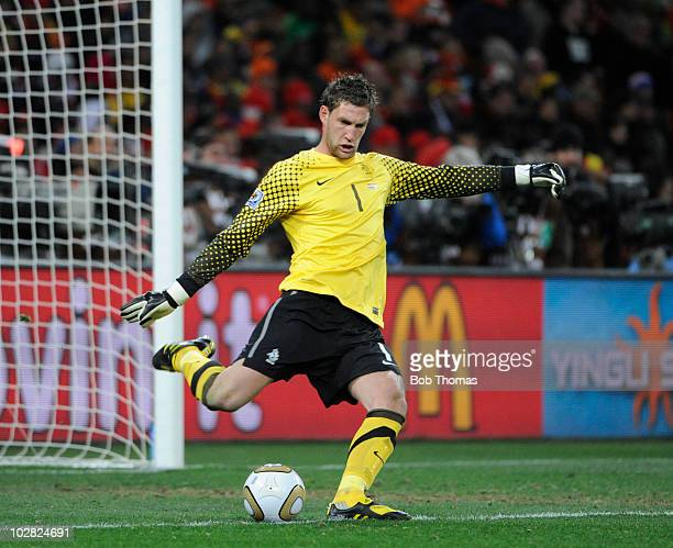 Goalkeeper Maarten Stekelenburg of the Netherlands during the 2010 FIFA World Cup Final between the Netherlands and Spain on July 11, 2010 in...