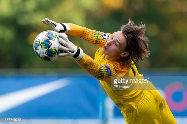goalkeeper Maarten Vandevoordt of Genk U19 controls the ball during the UEFA Youth League match between Genk U19 and Liverpool U19 at KRC Genk Arena...