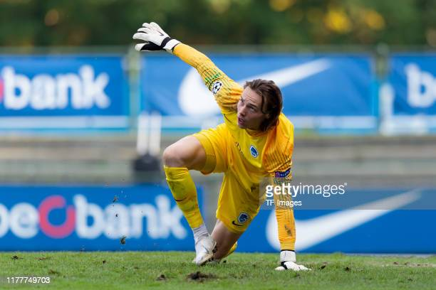 goalkeeper Maarten Vandevoordt of Genk U19 looks on during the UEFA Youth League match between Genk U19 and Liverpool U19 at KRC Genk Arena on...