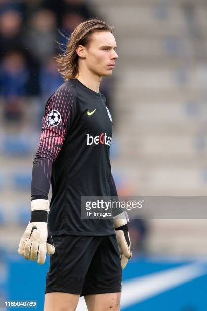Goalkeeper Maarten Vandevoordt of KRC Genk U19 looks on during the UEFA Youth League match between KRC Genk U19 and RB Salzburg U19 on November 27...