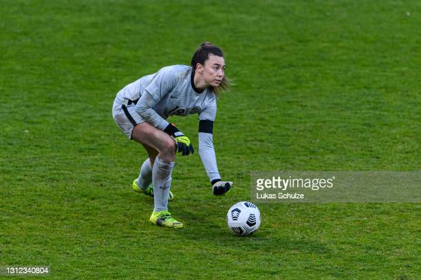 Goalkeeper Mackenzie Arnold of Australia in action during the International Friendly between Netherlands and Australia at Stadion de Goffert on April...