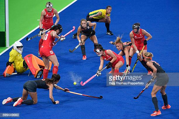 Goalkeeper Maddie Hinch of Great Britain kicks the ball clear of goal during the Women's Hockey Gold medal match between The Netherlands and Great...