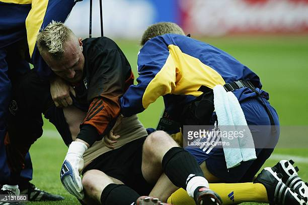 Goalkeeper Magnus Hedman of Sweden receives treatment for an injury after the Argentina v Sweden Group F World Cup Group Stage match played at the...