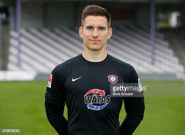 Goalkeeper Maik Ebersbach of Erzgebirge Aue poses during the FC Erzgebirge Aue Team Presentation at Sparkassenerzgebirgsstadion on July 17 2016 in...