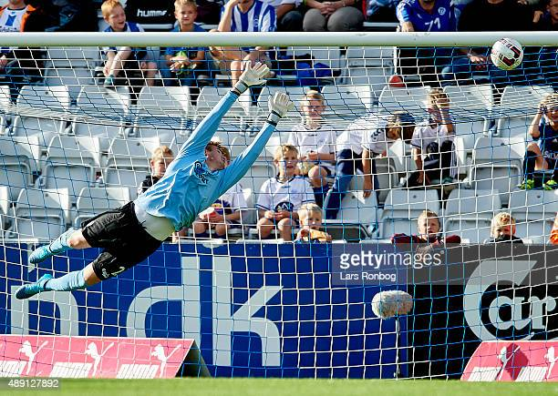 Goalkeeper Maksym Koval of OB Odense in action during the Danish Alka Superliga match between OB Odense and Viborg FF at TreFor Park on September 19...