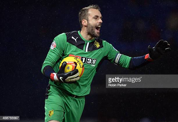 Goalkeeper Manuel Almunia of Watford during the Sky Bet Championship match between Ipswich Town and Watford at Portman Road on December 21, 2013 in...