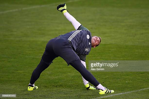 Goalkeeper Manuel Neuer attends a Germany training session at Ullevaal Stadion on September 3 2016 in Oslo Norway