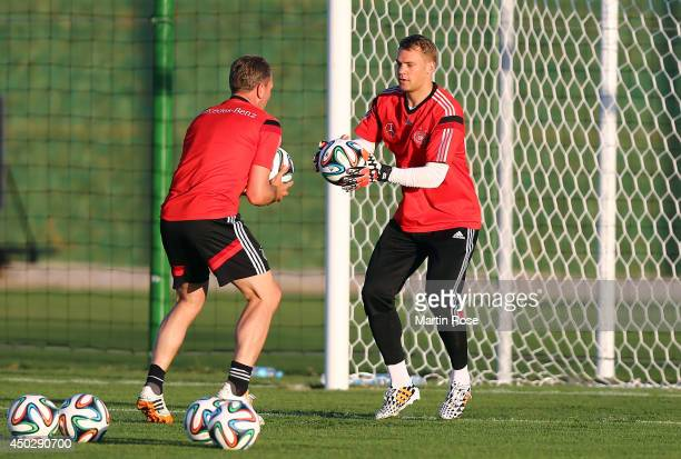 Goalkeeper Manuel Neuer in action with goalkeeper coach Andreas Koepke during the German National team training session at Campo Bohia on June 8 2014...