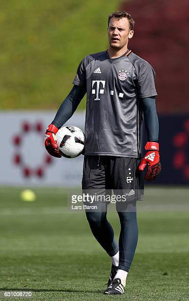 Goalkeeper Manuel Neuer is seen during a training session at day 3 of the Bayern Muenchen training camp at Aspire Academy on January 5 2017 in Doha...