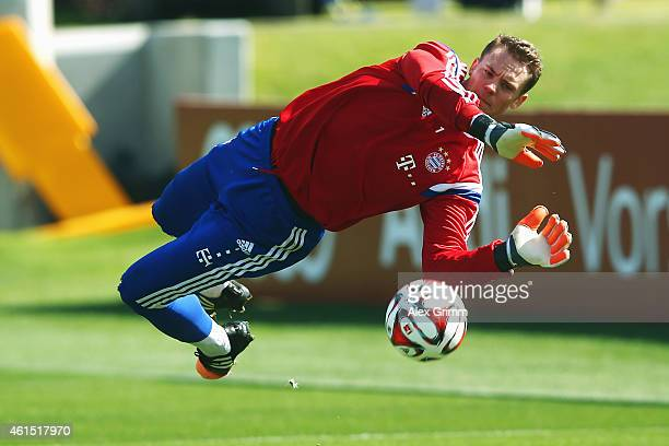 Goalkeeper Manuel Neuer makes a save during day 6 of the Bayern Muenchen training camp at ASPIRE Academy for Sports Excellence on January 14 2015 in...
