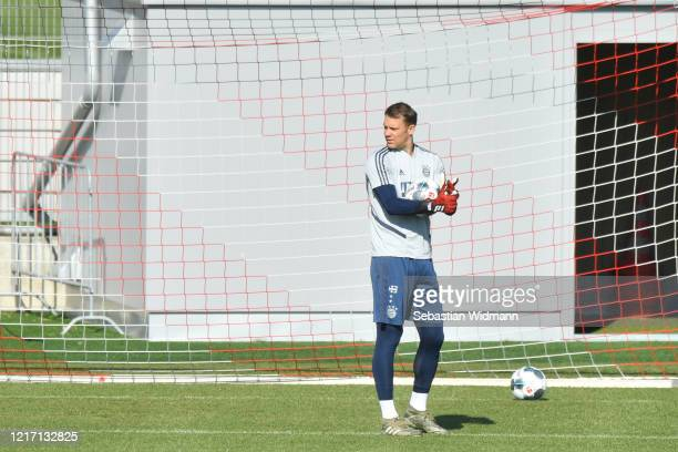 Goalkeeper Manuel Neuer of Bayern Muenchen looks on during session at Saebener Strasse training ground on April 06 2020 in Munich Germany