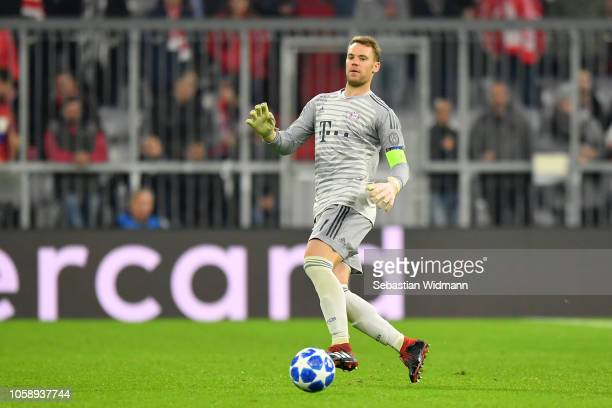 Goalkeeper Manuel Neuer of Bayern Muenchen passes the ball during the Group E match of the UEFA Champions League between FC Bayern Muenchen and AEK...