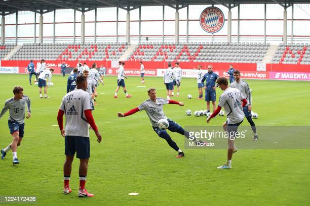 Goalkeeper Manuel Neuer of FC Bayern Muenchen plays the ball during a training session at FC Bayern Campus on May 11 2020 in Munich Germany FC Bayern...