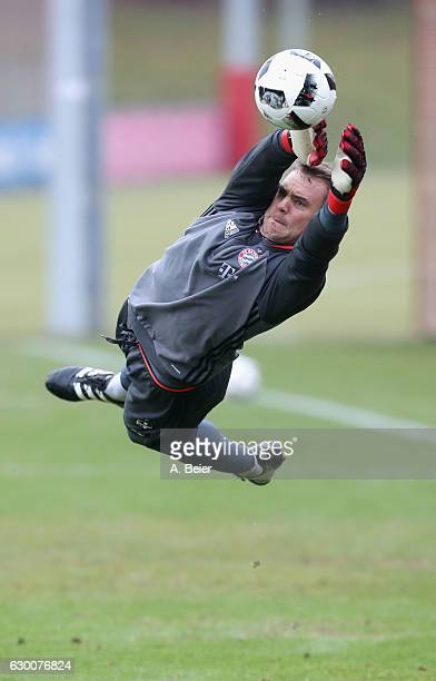 Goalkeeper Manuel Neuer of FC Bayern Muenchen practices during a training session at the club's Saebener Strasse training ground on December 16 2016...