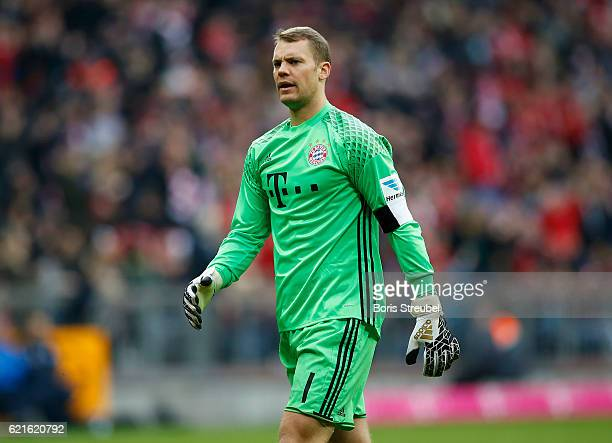 Goalkeeper Manuel Neuer of FC Bayern Muenchen reacts during the Bundesliga match between Bayern Muenchen and TSG 1899 Hoffenheim at Allianz Arena on...