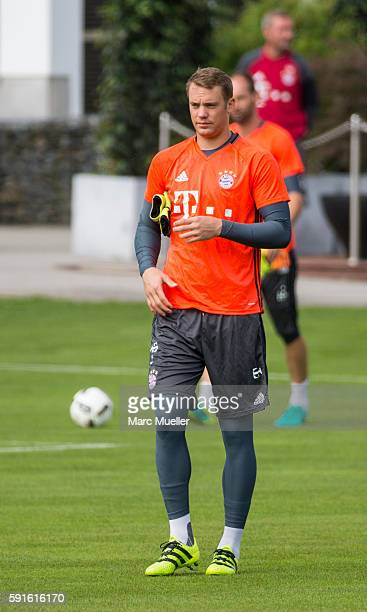 Goalkeeper Manuel Neuer of FC Bayern Munich are seen during an training session on August 17 2016 in Munich Germany