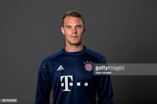 Goalkeeper Manuel Neuer of FC Bayern Munich pose during the team presentation on August 10 2016 in Munich Germany
