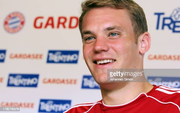 Goalkeeper Manuel Neuer of German football club FC Bayern Muenchen addresses the media during a press conference on July 5 2011 in Riva del Garda...