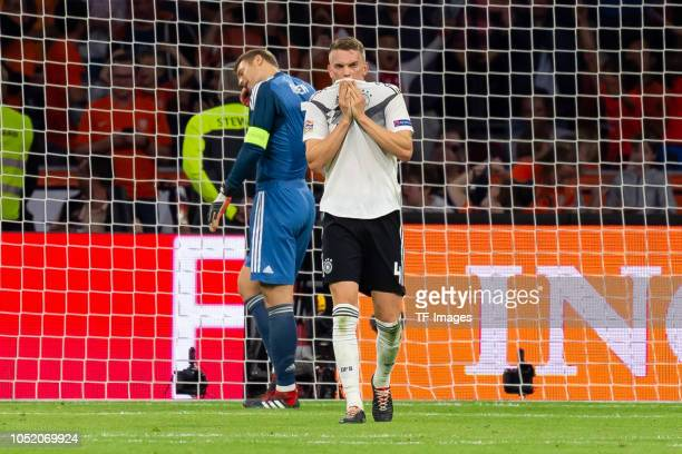 Goalkeeper Manuel Neuer of Germany and Matthias Ginter of Germany look dejected during the UEFA Nations League A group one match between Netherlands...