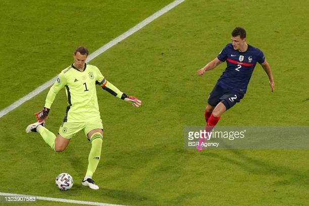Goalkeeper Manuel Neuer of Germany, Benjamin Pavard of France during the UEFA Euro 2020 match between France and Germany at Allianz Arena on June 15,...