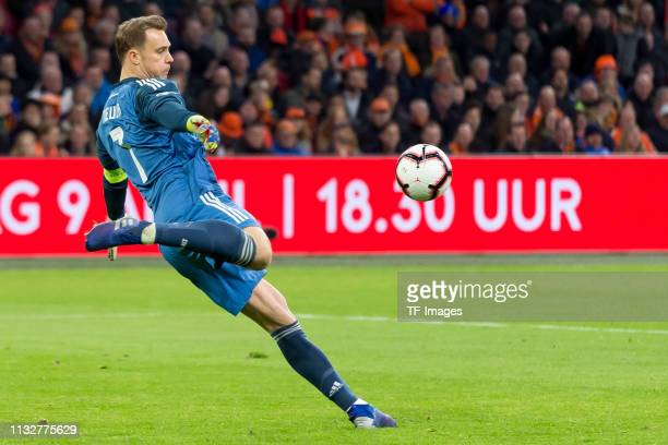 goalkeeper Manuel Neuer of Germany controls the ball during the 2020 UEFA European Championships group C qualifying match between Netherlands and...