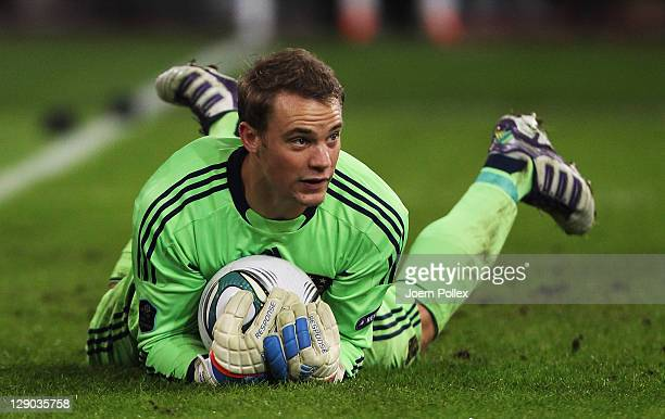 Goalkeeper Manuel Neuer of Germany during the UEFA EURO 2012 Group A qualifying match between Germany and Belgium at Esprit Arena on October 11 2011...