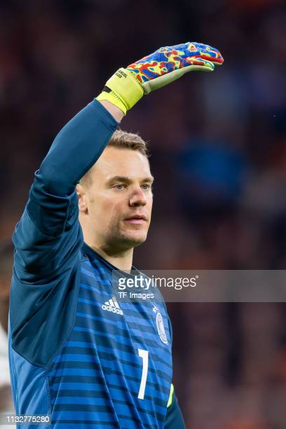 goalkeeper Manuel Neuer of Germany gestures during the 2020 UEFA European Championships group C qualifying match between Netherlands and Germany at...