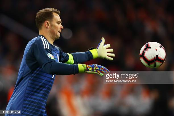 Goalkeeper Manuel Neuer of Germany in action during the 2020 UEFA European Championships group C qualifying match between Netherlands and Germany at...