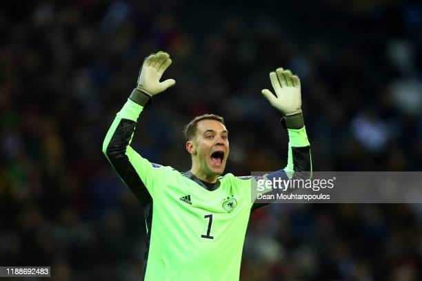 Goalkeeper, Manuel Neuer of Germany in action during the UEFA Euro 2020 Qualifier between Germany and Belarus on November 16, 2019 in...