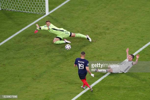 Goalkeeper Manuel Neuer of Germany, Karim Benzema of France during the UEFA Euro 2020 match between France and Germany at Allianz Arena on June 15,...