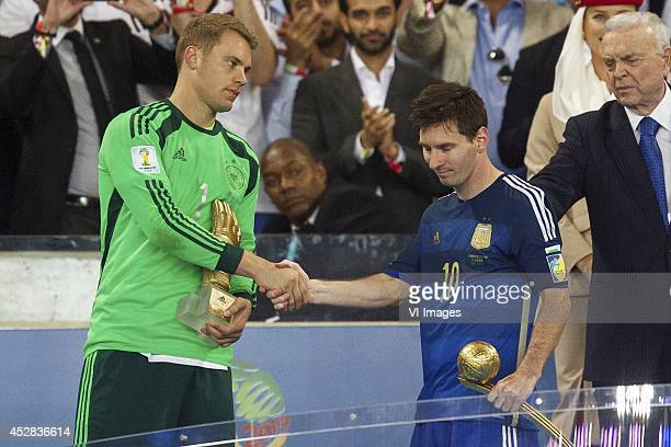goalkeeper Manuel Neuer of Germany Lionel Messi of Argentina during the final of the FIFA World Cup 2014 on July 13 2014 at the Maracana stadium in...