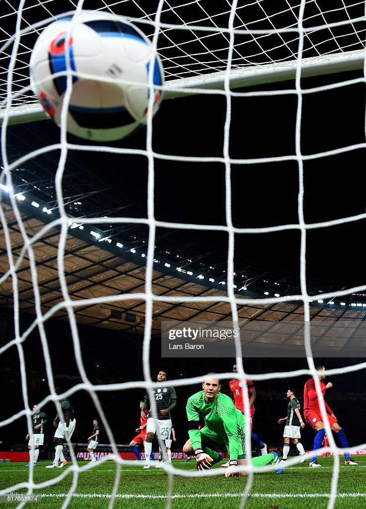 Goalkeeper Manuel Neuer of Germany looks dejected after receiving the first goal of Harry Kane of England during the International Friendly match between Germany and England at Olympiastadion on March 26, 2016 in Berlin, Germany.