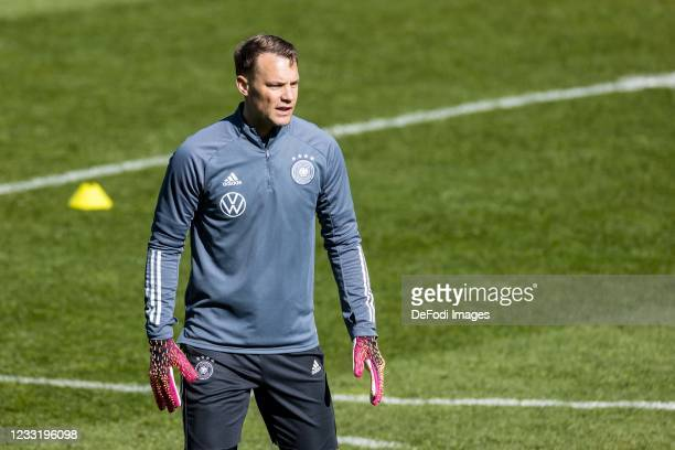 Goalkeeper Manuel Neuer of Germany looks on during Day 3 of the Germany Seefeld Training Camp on May 30, 2021 in Seefeld in Tirol, Austria.