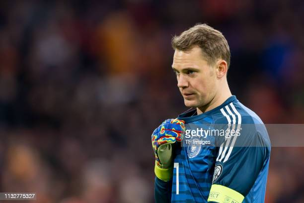 goalkeeper Manuel Neuer of Germany looks on during the 2020 UEFA European Championships group C qualifying match between Netherlands and Germany at...