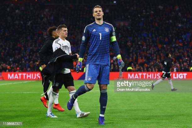 Goalkeeper Manuel Neuer of Germany looks on prior to the 2020 UEFA European Championships group C qualifying match between Netherlands and Germany at...