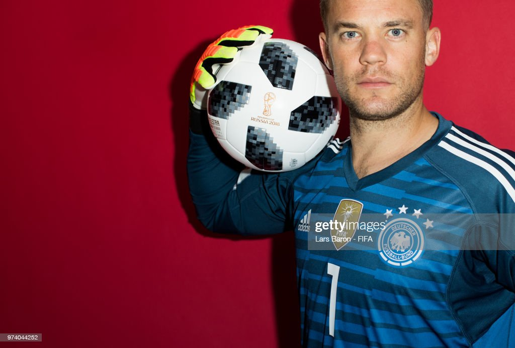 Goalkeeper Manuel Neuer of Germany poses for a portrait during the official FIFA World Cup 2018 portrait session on June 13, 2018 in Moscow, Russia.