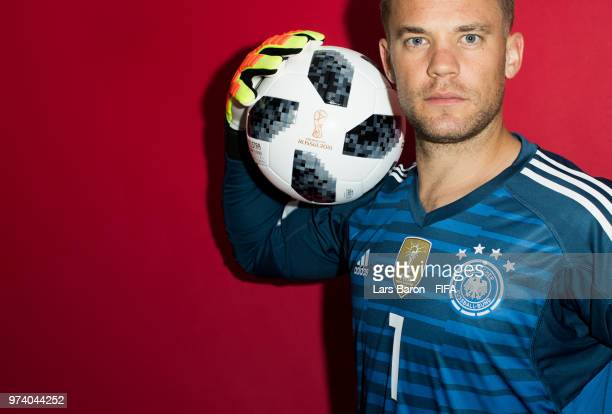 Goalkeeper Manuel Neuer of Germany poses for a portrait during the official FIFA World Cup 2018 portrait session on June 13 2018 in Moscow Russia