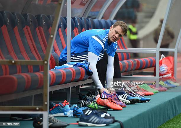 Goalkeeper Manuel Neuer of Germany prepares for a Germany training session ahead of their Euro 2016 Qualifier against Georgia at Boris Paichadze...