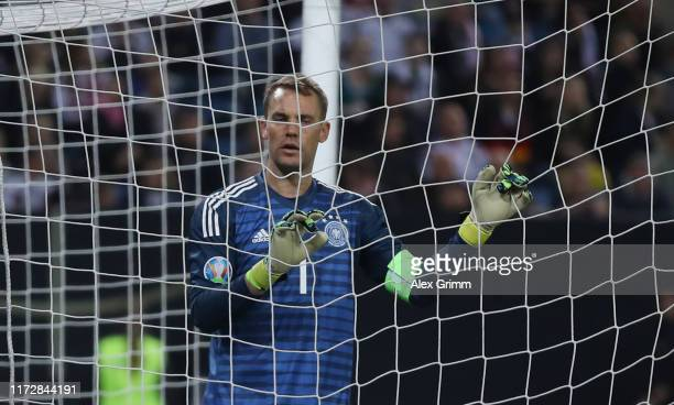 Goalkeeper Manuel Neuer of Germany reacts during the UEFA Euro 2020 qualifier match between Germany and Netherlands at Volksparkstadion on September...