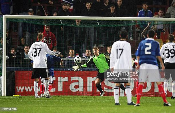 Goalkeeper Manuel Neuer of Germany saves the ball during the UEFA U21 Championship Playoff match between France and Germany at the Stade Saint...