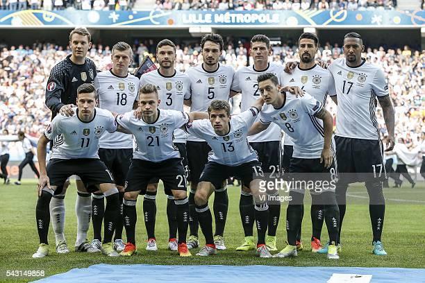 goalkeeper Manuel Neuer of Germany Toni Kroos of Germany Jonas Hector of Germany Mats Hummels of Germany Mario Gomez of Germany Sami Khedira of...