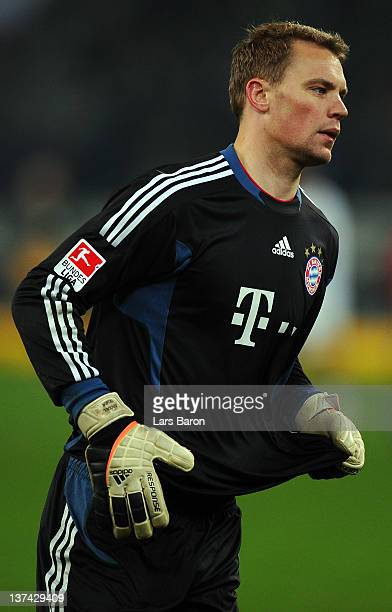 Goalkeeper Manuel Neuer of Muenchen looks dejected after loosing the Bundesliga match between Borussia Moenchengladbach and Bayern Muenchen at...