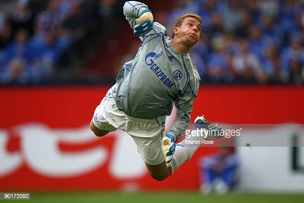 Goalkeeper Manuel Neuer of Schalke in action during the Bundesliga match between FC Schalke 04 and SC Freiburg at the Veltins Arena on August 29 2009...