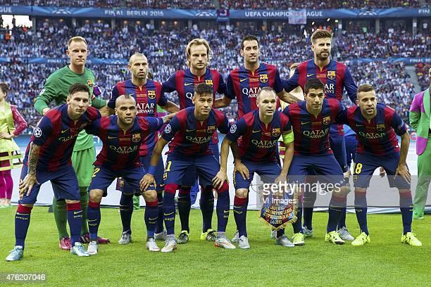 Goalkeeper Marc Andre ter Stegen of FC Barcelona, Javier Mascherano of FC Barcelona, Ivan Rakitic of FC Barcelona, Sergio Busquets of FC Barcelona,...